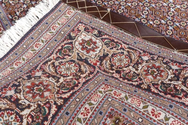 Black Persian Rug Tabriz Mahi Wool and Silk Carpet For Sale 4