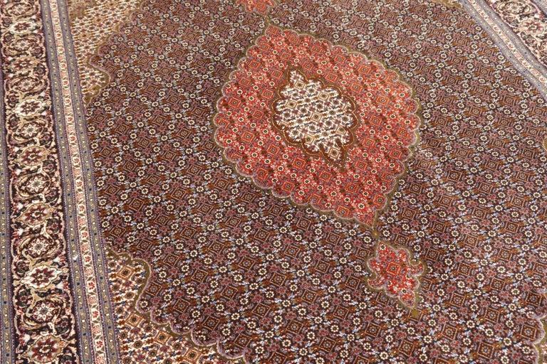 Black Persian Rug Tabriz Mahi Wool and Silk Carpet For Sale 5