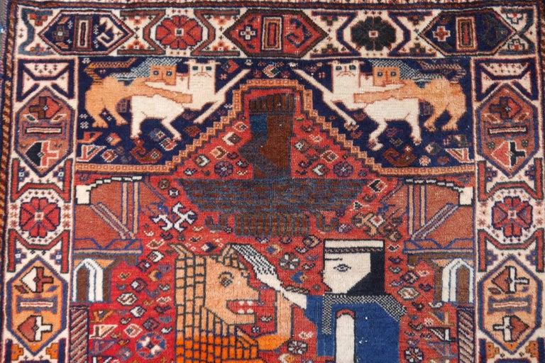 Lion Rug Qashqai Persian Vintage Nomadic Wedding Carpet 4