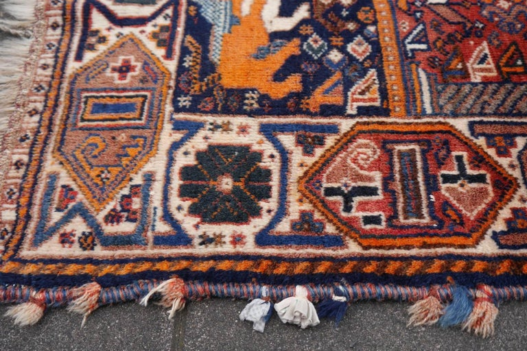 Mid-20th Century Lion Rug Qashqai Persian Vintage Nomadic Wedding Carpet For Sale