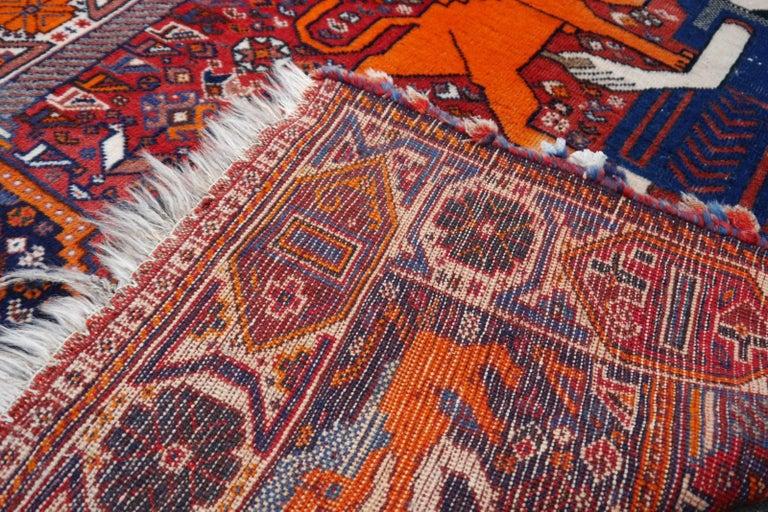Lion Rug Qashqai Persian Vintage Nomadic Wedding Carpet 7