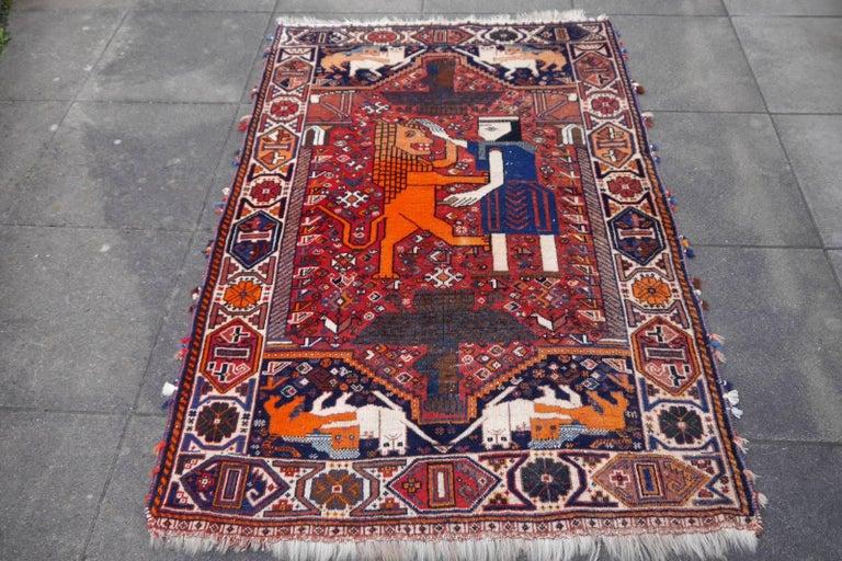 Lion Rug Qashqai Persian Vintage Nomadic Wedding Carpet 8
