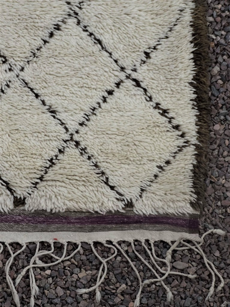 Hand-Knotted Vintage Moroccan Ivory Wool Rug with Diamond Design For Sale