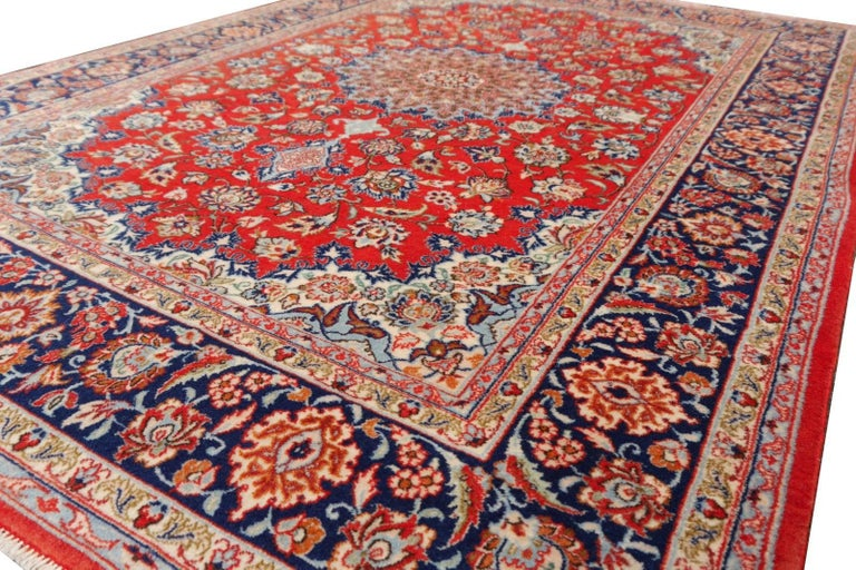 Hand-Knotted Isfahan Persian Wool and Silk Rug For Sale