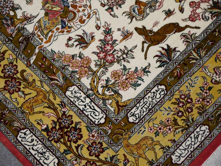 Silk Hunting Persian Rug Hand-Knotted in Qum In Excellent Condition For Sale In Lohr, Bavaria, DE