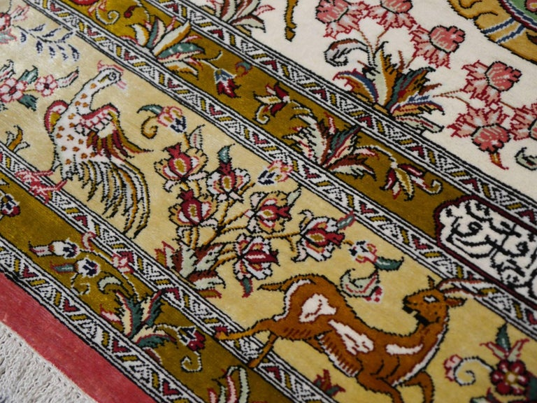 Silk Hunting Persian Rug Hand-Knotted in Qum For Sale 1