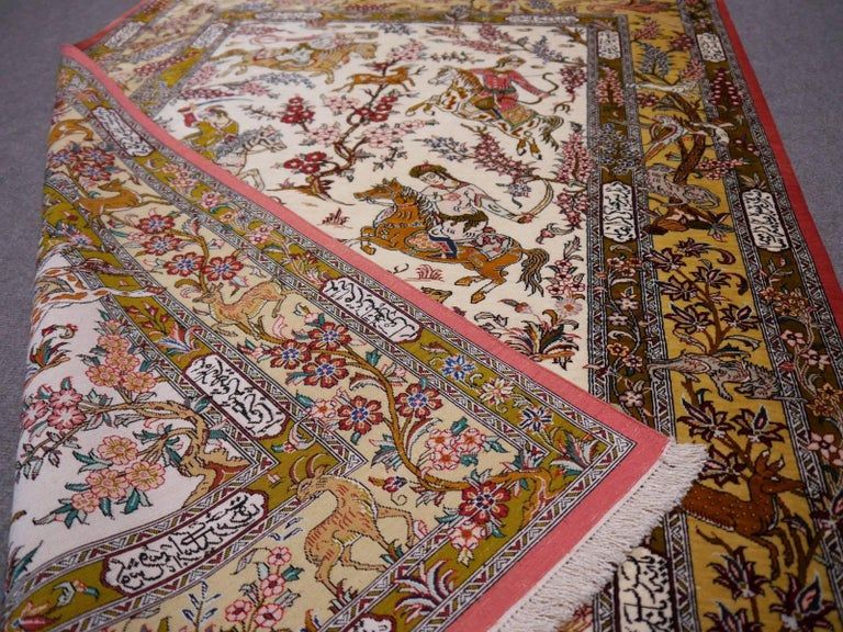 Silk Hunting Persian Rug Hand-Knotted in Qum For Sale 2