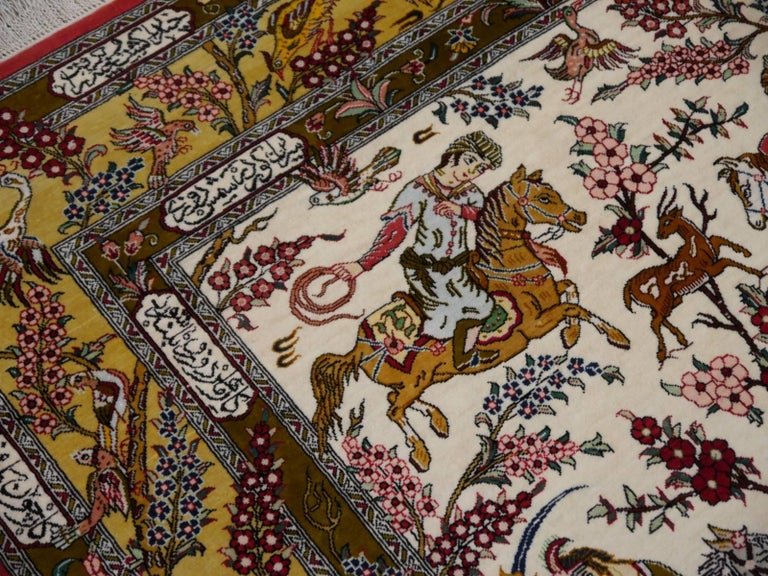 Silk Hunting Persian Rug Hand-Knotted in Qum For Sale 3