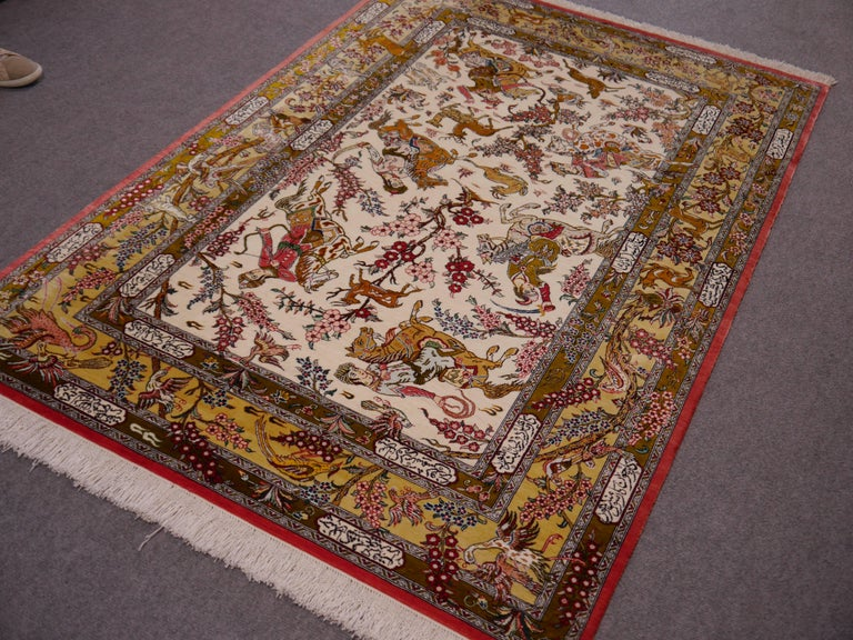 Silk Hunting Persian Rug Hand-Knotted in Qum For Sale 4