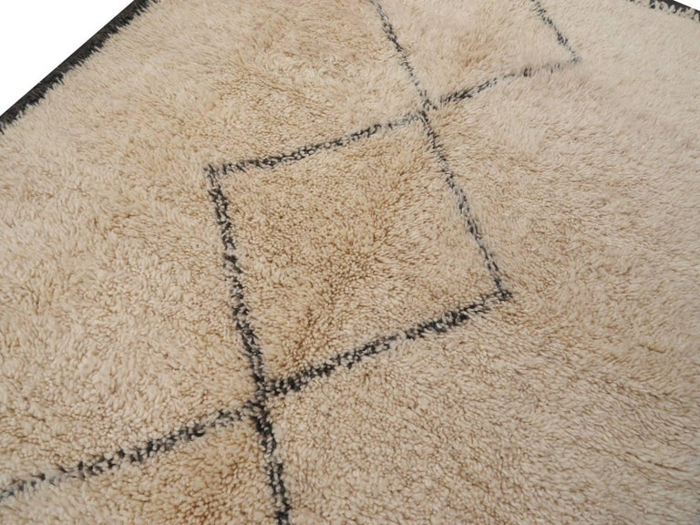 Contemporary North African Moroccan Berber Rug Ivory and Dark Brown 3