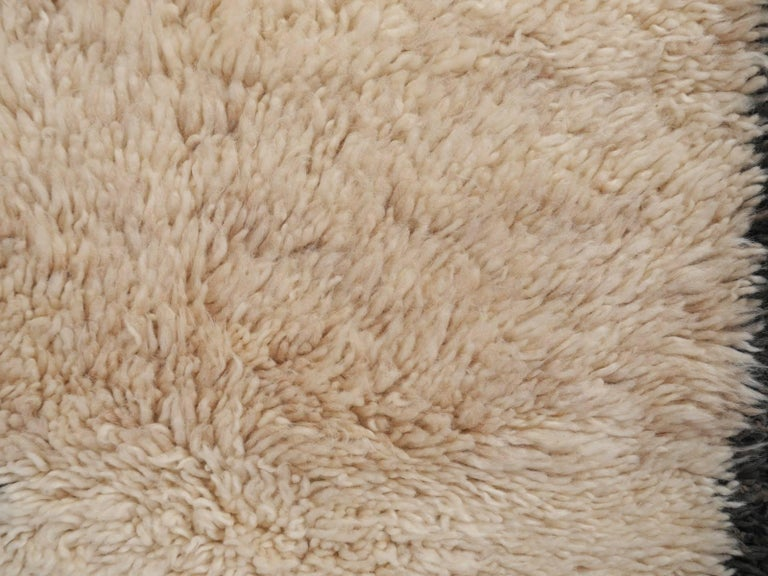Contemporary North African Moroccan Berber Rug Ivory and Dark Brown 4