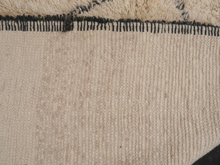 Contemporary North African Moroccan Berber Rug Ivory and Dark Brown 5