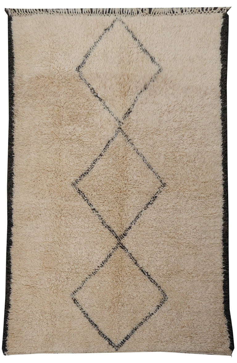 Contemporary North African Moroccan Berber Rug Ivory and Dark Brown 8