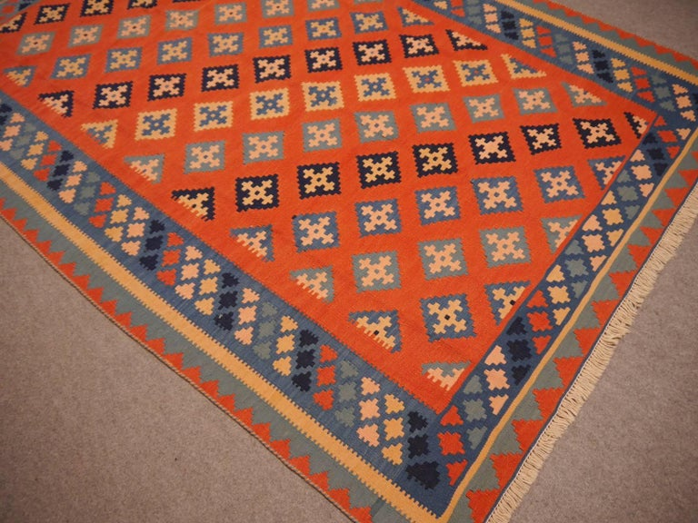 Hand-Woven Persian Rug Kilim Handwoven with Natural Dyed Organic Wool, Vintage For Sale