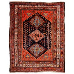Tribal Rug Hand-Knotted Antique Wool Carpet