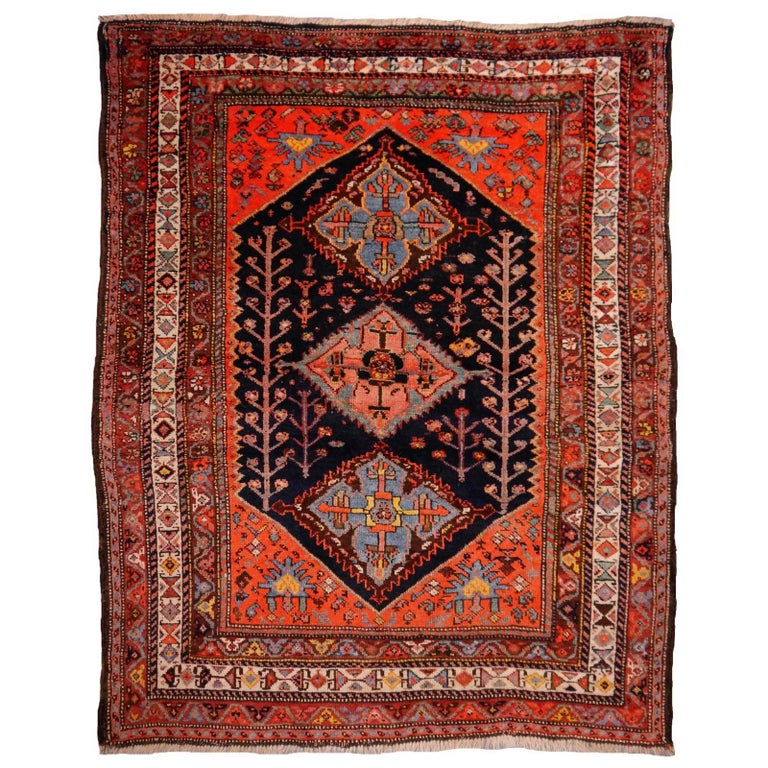 Persian Rug Qashqai Tribal Hand-Knotted Antique Wool Carpet