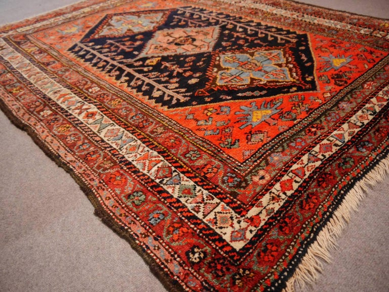 Early 20th Century Persian Rug Qashqai Tribal Hand-Knotted Antique Wool Carpet For Sale