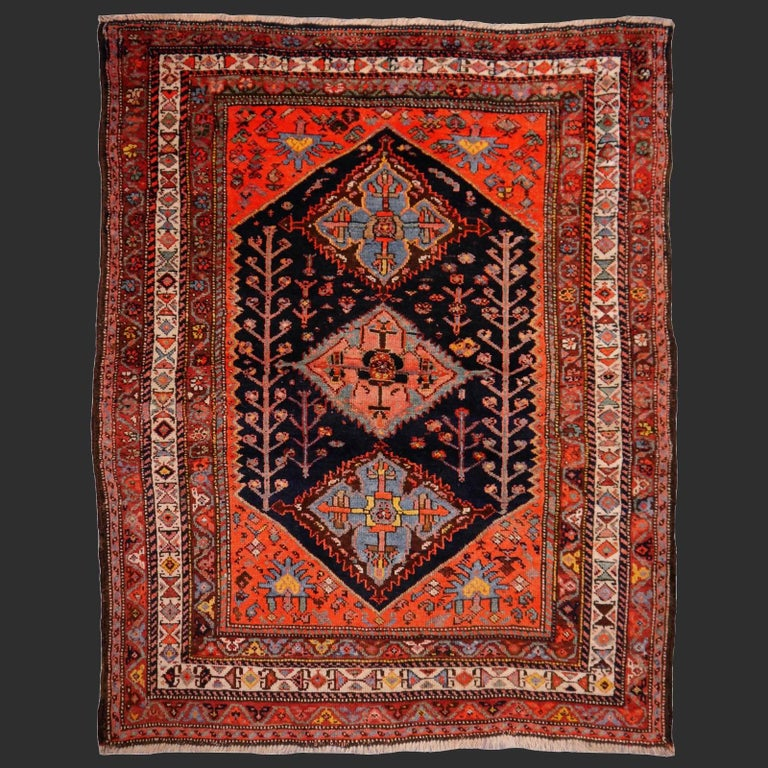 Persian Rug Qashqai Tribal Hand-Knotted Antique Wool Carpet For Sale 2