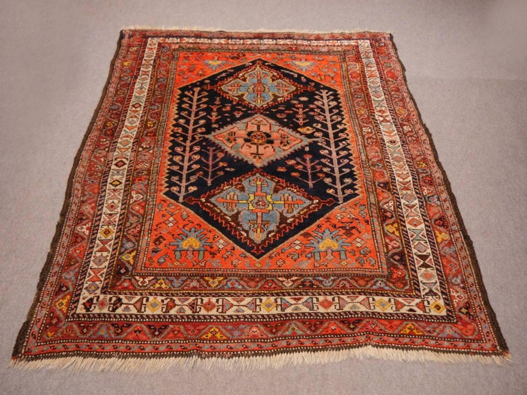 Persian Rug Qashqai Tribal Hand-Knotted Antique Wool Carpet For Sale 3