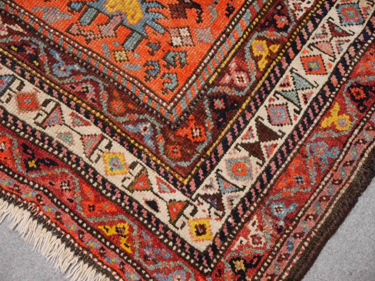 Persian Rug Qashqai Tribal Hand-Knotted Antique Wool Carpet For Sale 4