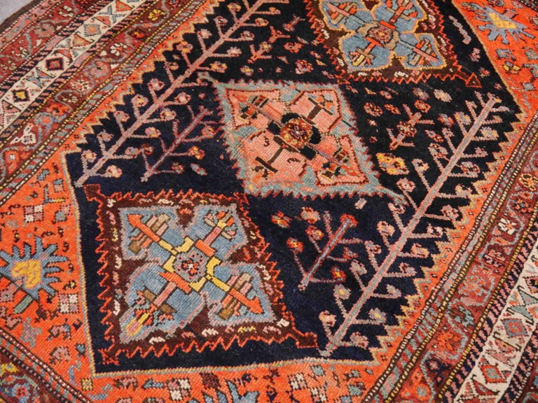 Persian Rug Qashqai Tribal Hand-Knotted Antique Wool Carpet For Sale 5