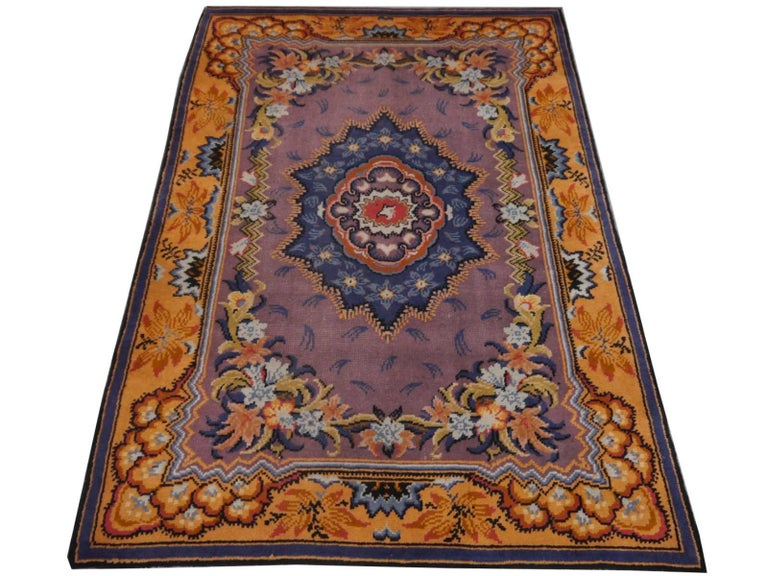 Art Nouveau Hand-Knotted Western European French Design Wool Rug For Sale 5