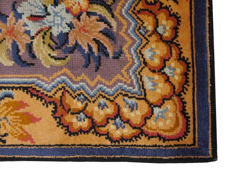 Art Nouveau Hand-Knotted Western European French Design Wool Rug For Sale 4