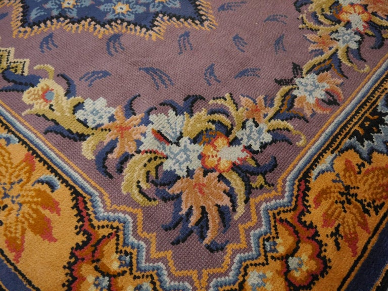 Art Nouveau Hand-Knotted Western European French Design Wool Rug For Sale 3