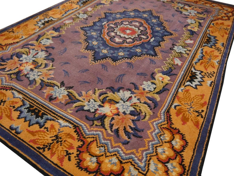 Art Nouveau Hand-Knotted Western European French Design Wool Rug For Sale 6