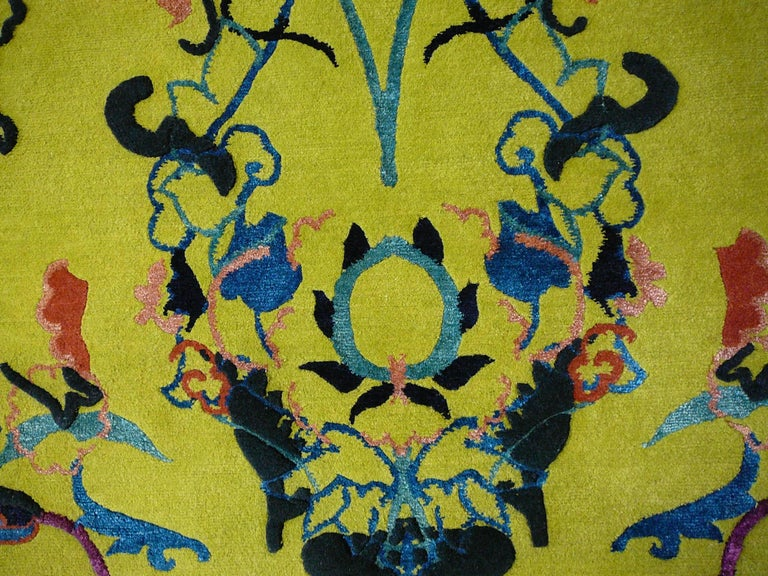Tibetan Wool and Silk Rug with Antique Agra Design For Sale 2