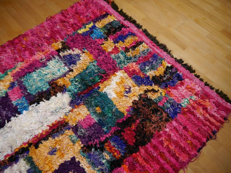 Cotton North African Tribal Khozema Rug Modern Moroccan Design For Sale