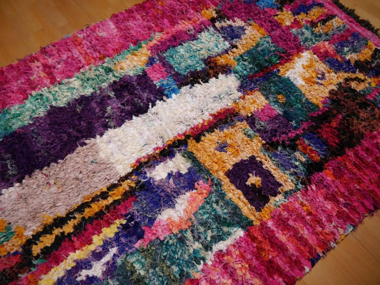 Contemporary North African Tribal Khozema Rug Modern Moroccan Design For Sale