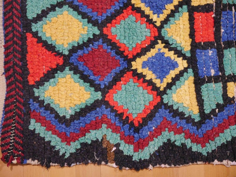 Hand-Knotted Vintage North African Moroccan Azilal bifurcated Berber Rug For Sale
