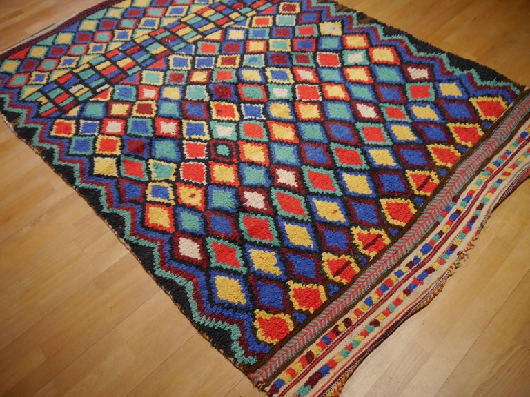 Late 20th Century Vintage North African Moroccan Azilal bifurcated Berber Rug For Sale