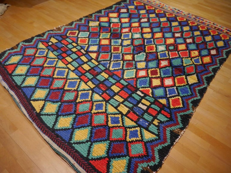 Tribal Vintage North African Moroccan Azilal bifurcated Berber Rug For Sale