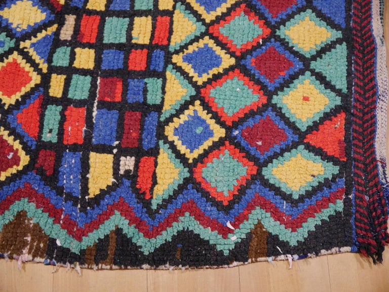 Vintage North African Moroccan Azilal bifurcated Berber Rug For Sale 2