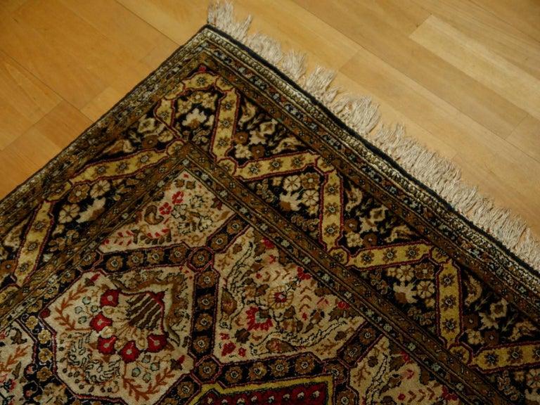 Persian Rug Qum Qom Silk Red Green Beige Black Hand-Knotted Vintage Carpet 6