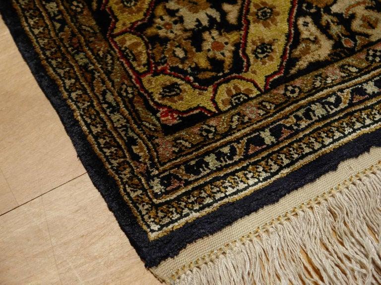 Persian Rug Qum Qom Silk Red Green Beige Black Hand-Knotted Vintage Carpet 7