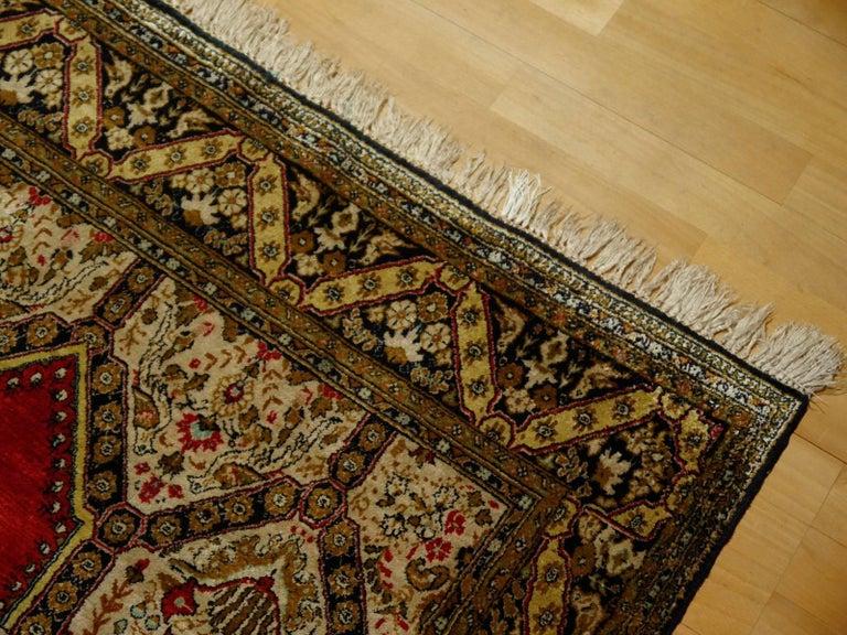 Persian Rug Qum Qom Silk Red Green Beige Black Hand-Knotted Vintage Carpet 5