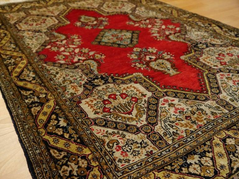 Persian Rug Qum Qom Silk Red Green Beige Black Hand-Knotted Vintage Carpet 9