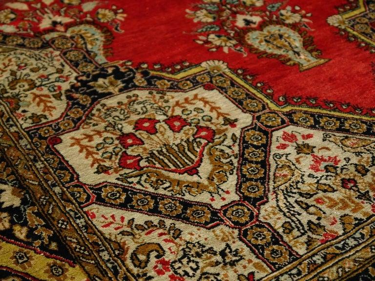 Persian Rug Qum Qom Silk Red Green Beige Black Hand-Knotted Vintage Carpet 8