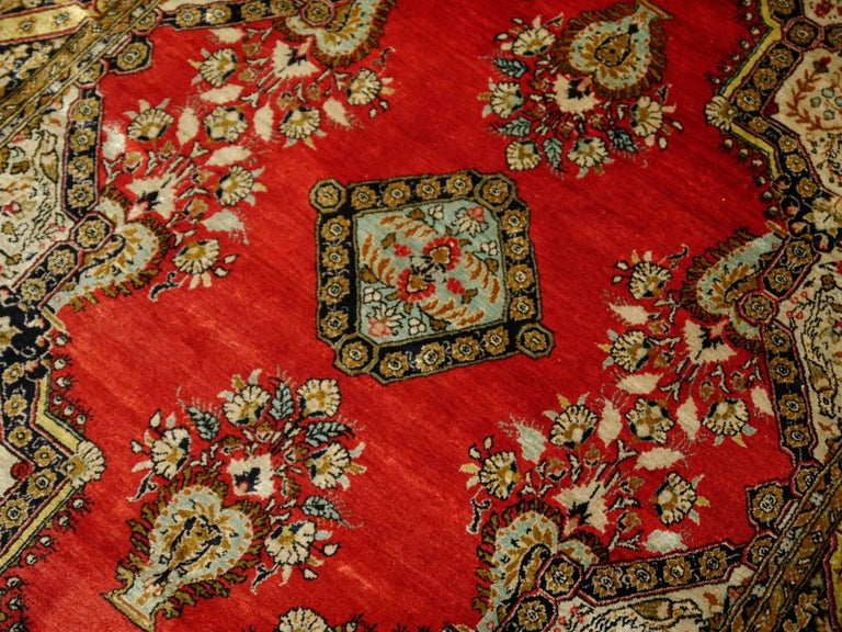 Mid-20th Century Persian Rug Qum Qom Silk Red Green Beige Black Hand-Knotted Vintage Carpet For Sale