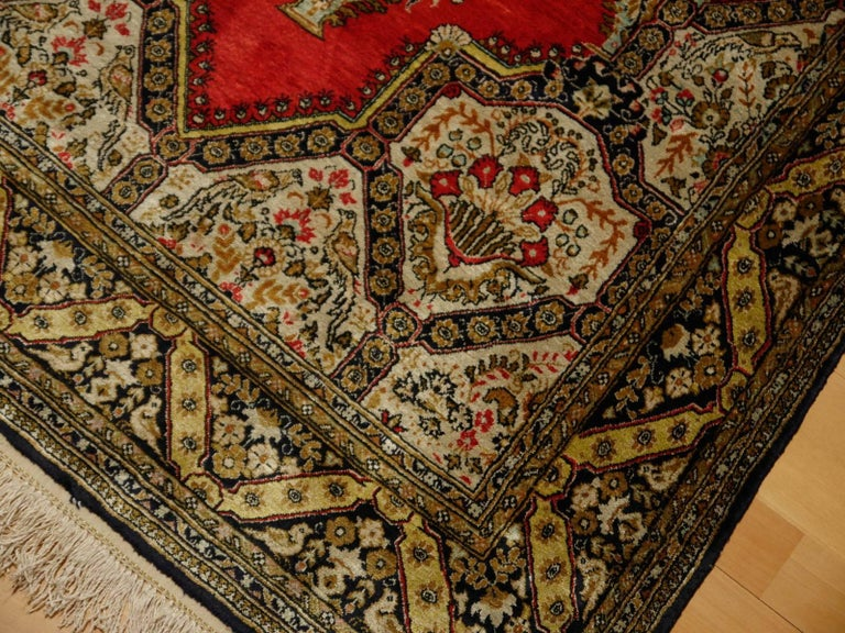 Persian Rug Qum Qom Silk Red Green Beige Black Hand-Knotted Vintage Carpet In Excellent Condition For Sale In Lohr, Bavaria, DE