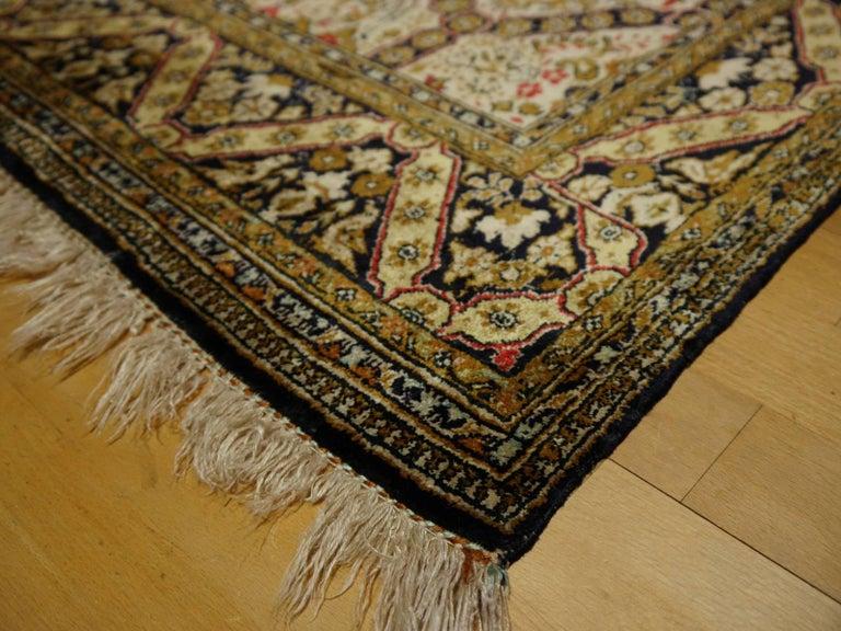 Persian Rug Qum Qom Silk Red Green Beige Black Hand-Knotted Vintage Carpet 10