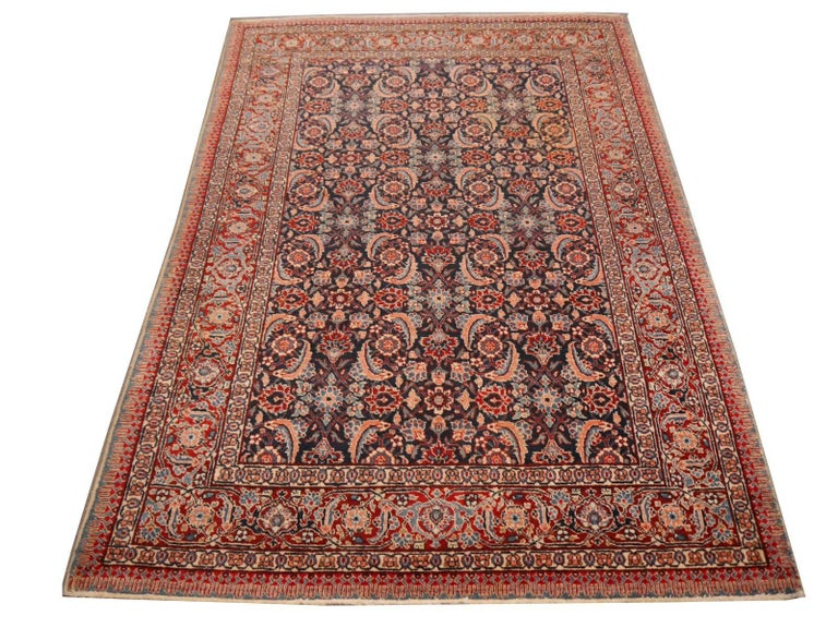 Antique Persian Tabriz Rug Mahi Design Haji Style Blue and Red Allover 2