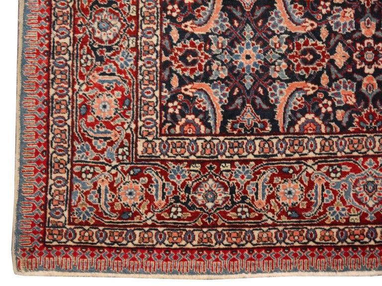 Tabriz Antique Rug Mahi Design Haji Style Blue and Red Allover For Sale