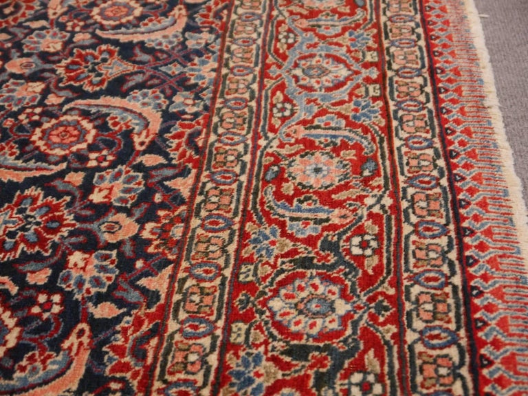 Antique Persian Tabriz Rug Mahi Design Haji Style Blue and Red Allover 7