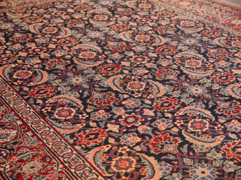 Antique Persian Tabriz Rug Mahi Design Haji Style Blue and Red Allover 6