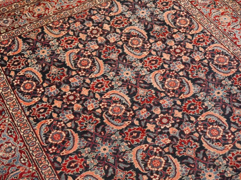 Antique Persian Tabriz Rug Mahi Design Haji Style Blue and Red Allover 5