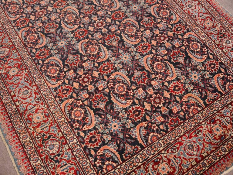 Antique Persian Tabriz Rug Mahi Design Haji Style Blue and Red Allover 4